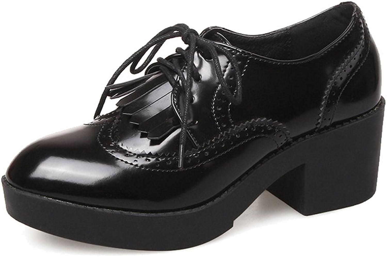 Btrada Women's Tassel Oxfords shoes Mid Heel Lace Up Waterproof Classic Oxfords
