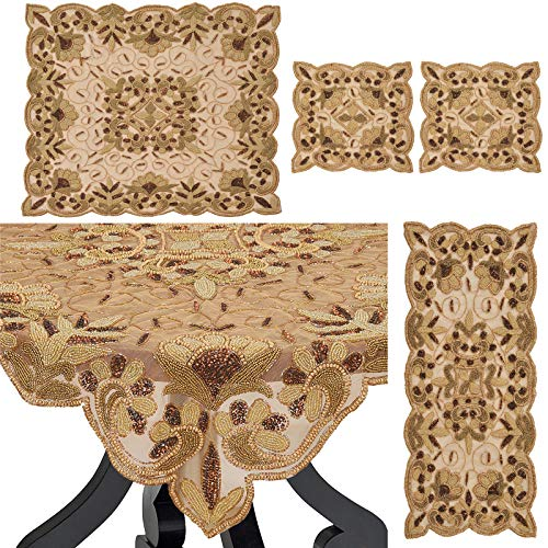 SalsaNights Hand Beaded 4 Set Table Runner Cover Ivory Home Decor Mat for Wedding Christmas Decoration