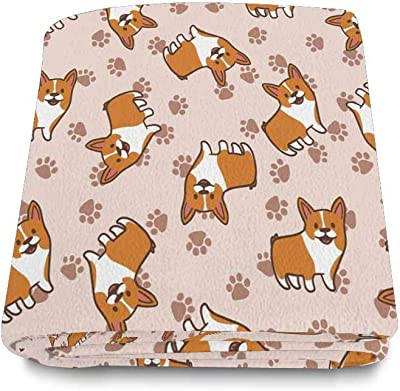 INTERESTPRINT Dog and Paw Print Cozy Soft Microfleece Travel Blanket, Great for Travel or Lounging