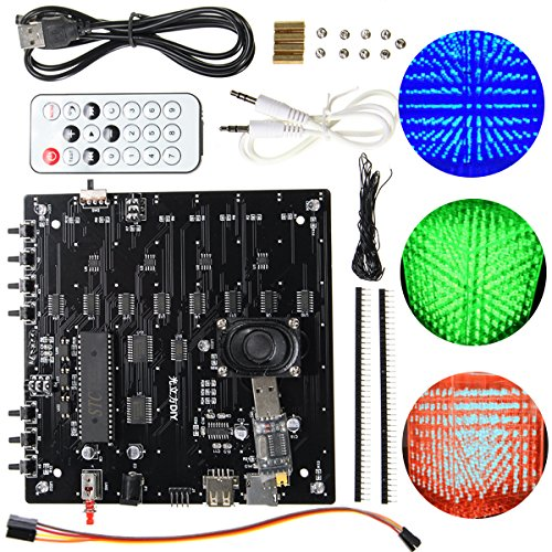 Les - 3D Cube Light Set rood groen blauw LED MP3 muziek spectrum DIY Elektronische Kit