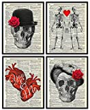 Skeleton Couple Love (4 Piece Set), Skull, Hearts and Roses Vintage Dictionary Art Print, Wall Art For Home Decor, Couple Wall Decor for Office 8x10 Inches, Unframed