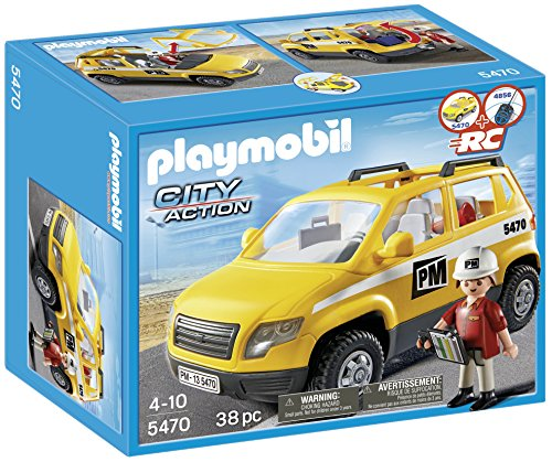 Playmobil - 5470 - Figurine - Chef De Chantier Et Véhicule d'intervention
