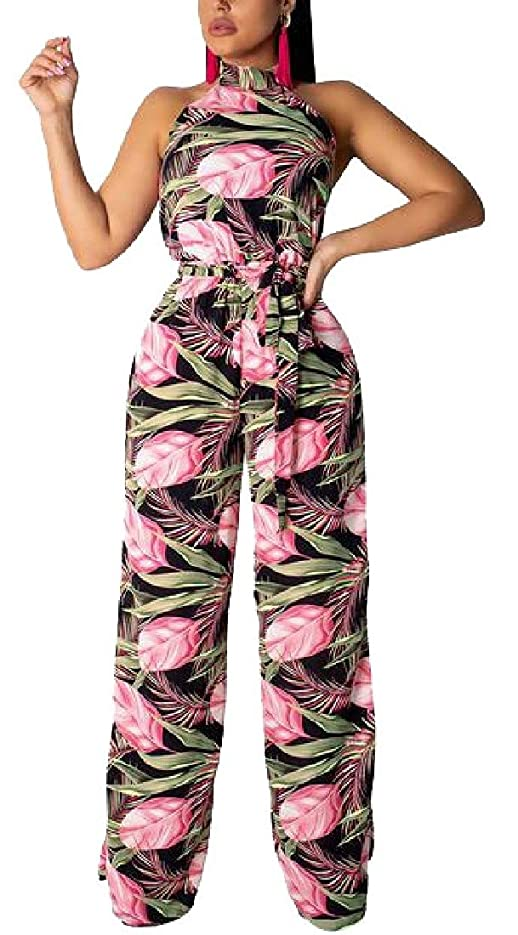 夢調子芝生女性花クロップトップとワイドレッグパンツ2ピースセットジャンプスーツ