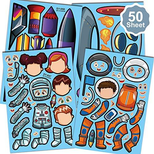 Qpout 50 Blatt Make A Face Aufkleber für Astronaut, Kinder Machen Sie Ihre eigenen Aufkleber für Weltraum Thema Jungen Mädchen Geburtstagsgeschenk/ Party Mitgebsel Spiel/ Sammelalbum Dekor
