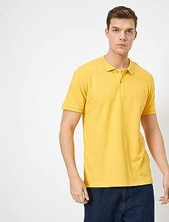 Polo Yaka Kisa Kollu Slim Fit Basic Tisört Sarı M