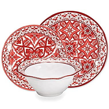 Q Squared Talavera In Roja 12-Piece Professional Grade, BPA-Free, Shatterproof, Melamine Dinnerware Set, Many Collection Options