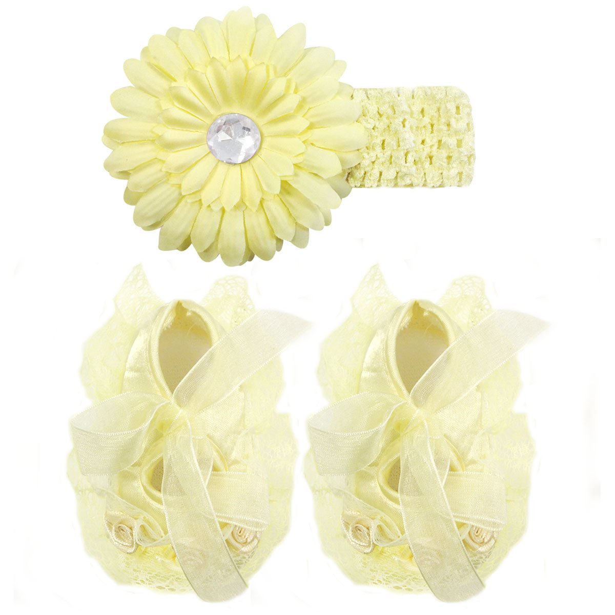 Wrapables Floral and Lace Keepsake Shoes and Headband Set, Yellow Size 12