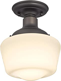 Westinghouse Lighting 6342200 Scholar One-Light Indoor Semi-Flush Ceiling Fixture, Oil Rubbed Bronze Finish with White Opal Glass, 11.42