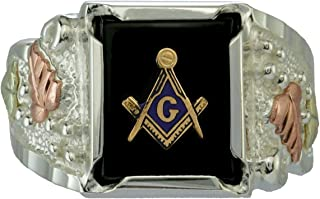 Men's Onyx Freemason's Ring, Sterling Silver, 12k Green and Rose Black Hills Gold