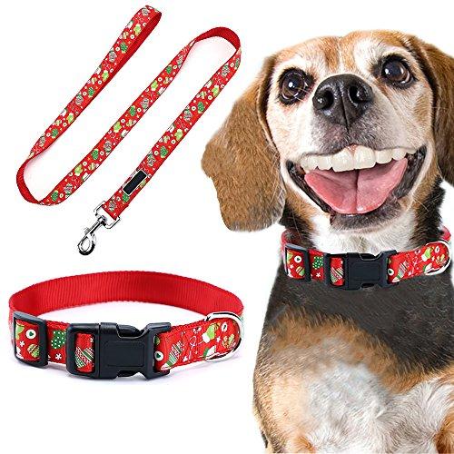 Ebuy.Inc Weihnachtshalsband-Set für Hunde, verstellbares Nylonhalsband für Hunde/Katzen, 120cm