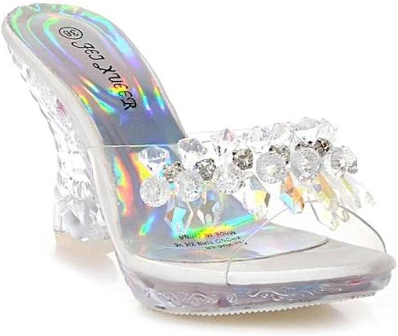 Meowstyle D-Sun Women's Peep Toe High Heels Platform Crystal Sandals Sparkling Diamonds Summer gold Black for Girls