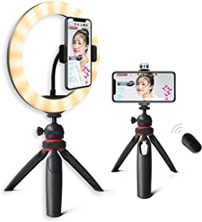 Desk Ring Light with Phone Tripod Stand Kit: Yingnuost 10'' Selfie Circle Lights & Camera/iPhone Holder with Bluetooth Shu...
