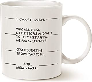 MAUAG Mothers Day Gifts Idea Funny Coffee Mug for Mom, I Can't Even and.Mom Is Awake Ceramic Cup White, 11 Oz