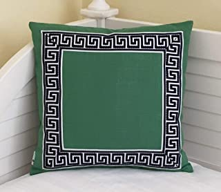 ances Lincol Kelly Green Linen with Navy and White Greek Key Trim Designer Pillowcase Cover Other Trim Colors Available Square and Euro Sizes