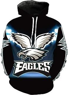 Men's Hooded Long Sleeve 3D Digital Print Philadelphia Eagles Football Team Sports Pullover Hoodies