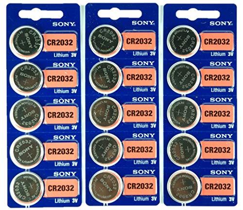Sony CR2032 Lithium-Knopfbatterie, 3 V, 2032, 15 Stück