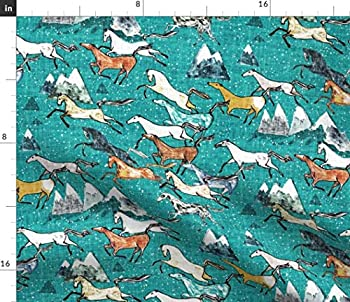 Spoonflower Fabric - Wild Horses Teal Horse Mountain Cowboy Western Southwestern Australia Printed on Denim Fabric by The Yard - Bottomweight Apparel Home Decor Upholstery