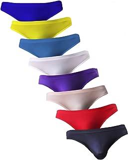 NEIKU Men's Sexy Ice Silk Bikini Underwear Low Rise Seamless Breathable Briefs