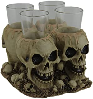 Creepy Gothic Human Skull Shot Glass Holder With 4 Shot Glasses