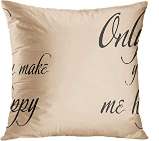 Benxii Throw Pillow Cover Only You Make Me Happy Positive Phrase Valentines Day Inspirational Quote Home Durable Soft Decorative Polyester Pillowcase Square Cushion Couch for Sofa 16x16 Inches