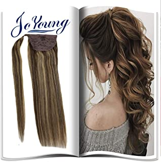 JoYoung One Piece Ponytail Extension Human Hair Wrap Around Dark Brown Highlight with Caramel Blonde 14inch Piano Color Ombre Clip in Hidden Crown Ponytail Extension 80g