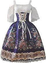 HIKO23 Cold Shoulder Womens Gothic Dress Plus Size Lace Up Floral Print Steampunk Victorian Cute Midi Dresses