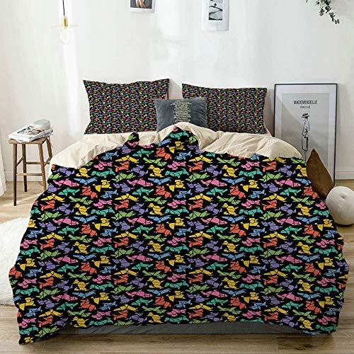 Juego de funda nórdica Beige, figuras de perros con gráficos de estilo origami abstracto en colores vivos Diseño geométrico de animales, juego de cama decorativo de 3 piezas con 2 fundas de almohada E
