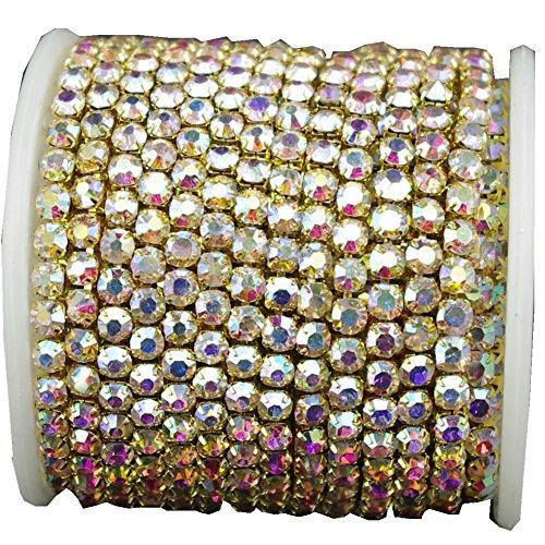 10 Yard Crystal AB Rhinestone Close Chain Clear Trim Sewing Craft (4mm, Gold)
