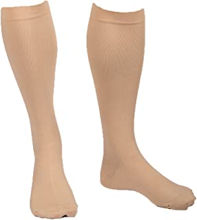 EvoNation Men's USA Made Graduated Compression Socks 15-20 mmHg Moderate Pressure Medical Quality Knee High Orthopedic Support Stockings Hose - Best Comfort Fit, Circulation, Travel (XXL, Tan)