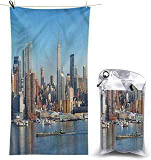 Ahuimin Quick Dry Beach Towel, New York,Urban City Skyline, 55 x 27.5 Inches Super Absorbent Lightweight Microfiber Bath Towels for Travel Pool Gym