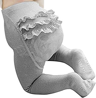 BBKidss Baby Toddler Girls Cute Knit Cotton Leggings Embroidery Ruffle Tight Pantyhose Footed Stocking Pants