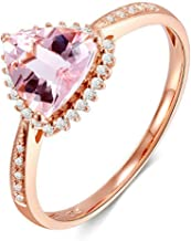 Daesar Anillo de Boda Oro Rosa 18 Kilates Mujer Triángulo Morganite Rosa Claro Blanco 0.9ct Talla 6,75-25