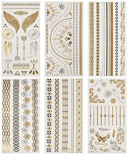 Tatuaggi Oro,Metallici Tatuaggi Gioiello Oro Tatuaggi Temporanei Adulti Donna,Impermeabile,Boho Sticker Corpo,Gioielli Falsi Festival Tatuaggi