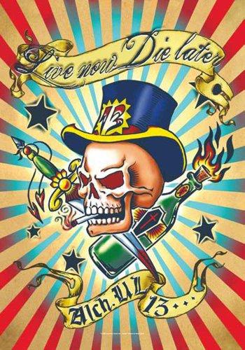 Alchemy UL13 Drapeau – Live Now la Later – gothique Poster drapeau 100% polyester 75 x 110 cm