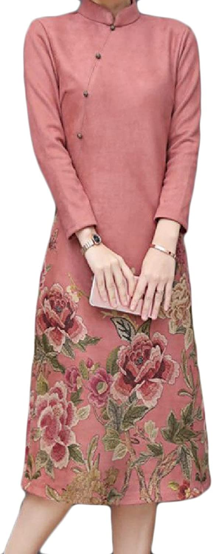GodeyesWomen Godeyes Women Solid Vintage Thick Floral Traditional Dress Cheongsam