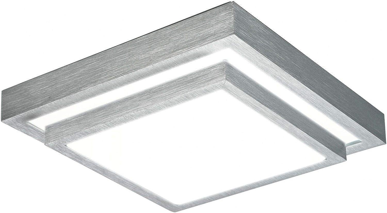 Deckenleuchte mit LED-Leuchtmittel warmwei (Flurleuchte, Acryl-Glas, 40 cm, gebürsteter Aluminium, Deckenlampe für Küche oder Flur)