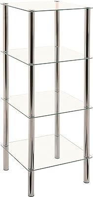 Haku Glasregal BZW. Regal aus Sicherheitglas und Stahl in chormfarben; Maße (B/T/H) in cm: 39 x 39 x 107