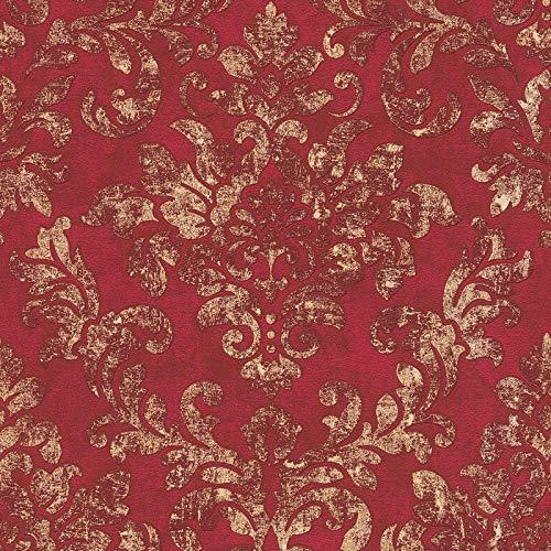 Barock-Tapete rot | Vintage-Tapete Ornament | Vliestapete rot barock 374131 | Ornament-Tapete für Schlafzimmer, Wohnzimmer und Flur kaufen!