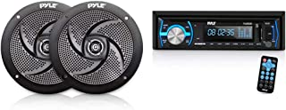 $64 » Pyle Marine Speakers - 5.25 Inch Low Profile Slim Style Waterpro Outdoor Audio Stereo Sound System - 1 Pair in Black, Whit...