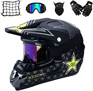 MRDEAR Motorrad Crosshelm mit Brille 5 Stück - Schwarz/Rockstar - Adult Motocross Helm Erwachsener Off Road Fullface MTB Helm Mopedhelm Motorradhelm für Damen Herren Sicherheit Schutz