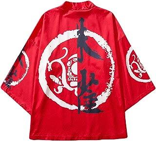 Men Kimono Cardigan Japanese Style Flying Floral Fish Dragon Crane Seven Sleeves Open Front Jacket Coat Outwear