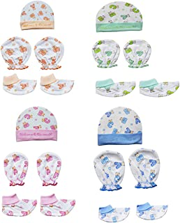 My Newborn Baby Cotton Mitten Sets with Cap and Booty-Pack of 4