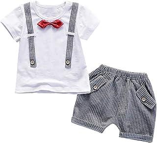 eae2c9cbbdc78 TEBAISE Les Enfants à Manches Courtes Faux Deux pièces Cravate Top T-Shirt  + Poche
