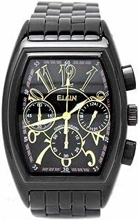 [エルジン]ELGIN 腕時計 クロノグラフ 日本製ムーブメント トノー型 ブラックxブラック FK1215B-B メンズ