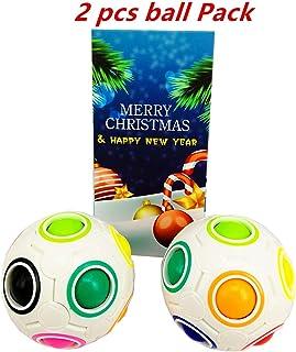 Cuberspeed Bundle 2 pcs Magic Rainbow Ball Fidget Toy Puzzle Magic Rainbow Ball Puzzle Fun Fidget