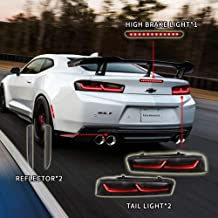Atoplite Darkened/Smoked Taillights/Rear reflector/High position brake light kit Package fit for 2016-2018 Chevrolet Camaro (Smoked Lights KITx3)
