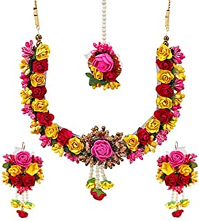 Jewellery Bollywood Ethnic Bridal Wedding Traditional Floral Gota Patti Indian Necklace Set, Earrings and Maang Tiika for Women Haldi and Mehendi Occassion