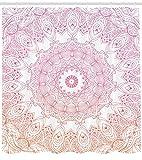 KUKUALE 1 Pieza Mandala Cortina de Ducha Estilo de Contorno Flor Mandala Elementos de diseño Tela de poliéster Juego de decoración de baño 180X180Cm (71X71In)