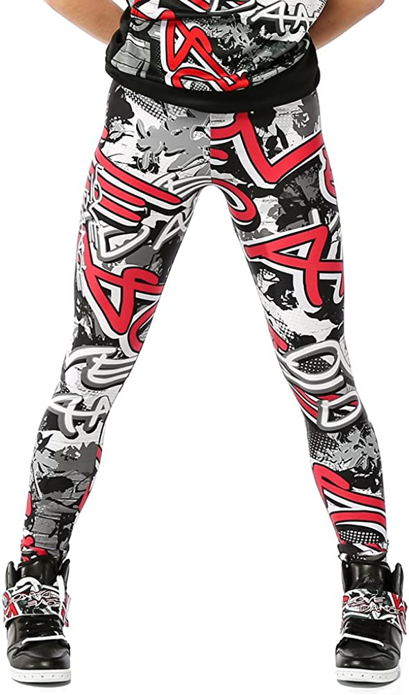 Alexandra Collection Youth Graffiti Athletic Hip Hop Workout Leggings