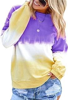 Women Gradient Crew Neck Pullover Long Sleeve Colorblock T-Shirt Blouse Tie Dye Shirt